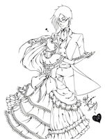 Dancing the Night Away-Lineart by EvilVampireDucky