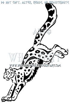 Leaping Snow Leopard Tribal Design by WildSpiritWolf