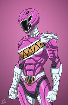 Pink Raptor Ranger commission by phil-cho