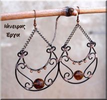 Black wire fall coloured earrings by IanirasArtifacts