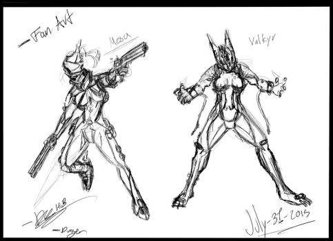 Warframe Sketches by DingerTheFox