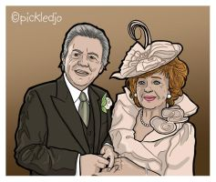 Rita Sullivan and Dennis Tanner Wedding Cartoon by pickledjo