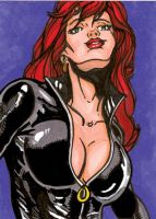 Black Widow Sketch Card by mmunshaw