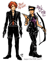 Black Widower and Hawkeye by Emruki