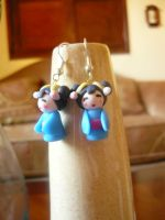kokeshi earrings v02 blue by sagaslover