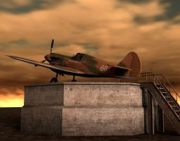 p40 fighter background by indigodeep