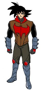 Son Goku cosplaying as the Red Hood by Jasontodd1fan