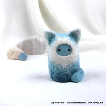 Needle felt  Blue Kitten by vavaleff