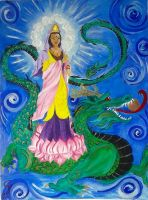 Quan Yin with Earth Dragon by Iolii