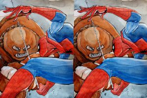 3D Spiderman vs. Juggernaut by doubleWOE7