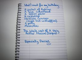 Starkid Birthday List by pigfartspigfarts