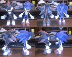 sonic and shadow papercraft by guchi-22