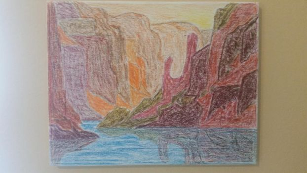 Oil pastel Canyon.  by PuttyBaron