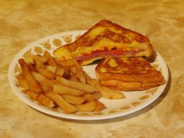 Rueben Monte Cristo Served with Fries by Kitteh-Pawz