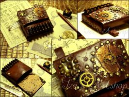 Steampunk Leather Belt Bag with Cartridge Loops II by izasartshop
