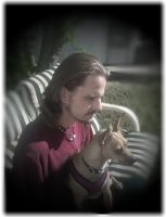 My husband and our puppy Pagan by WyckedDreamsDesigns