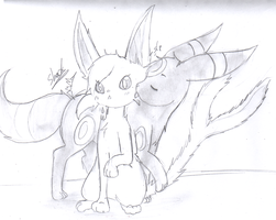 Umbreon and espeon by katze-des-grauens