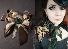 Steampunk Eye Fascinator and Brooch by MADmoiselleMeli