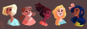 Painted Girl Heads by karlyjade