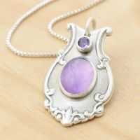 Custom Spoon Pendant w Amethysts by metalsmitten