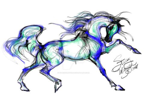 Horse - Blue Cheval by staceymayer