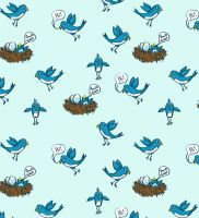 Twitter birds pattern by oxanaart