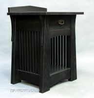 Black Deco spindle nightstand by DryadStudios