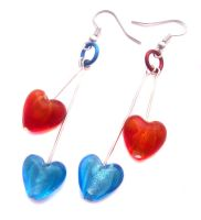 Red+Blue Glass Heart Earrings by fairy-cakes
