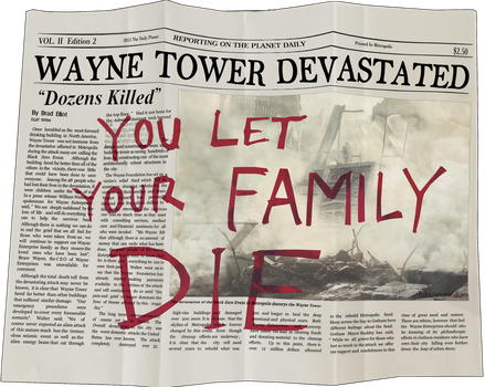 Wayne Tower Devastated newspaper recovered by me by freakyzzang