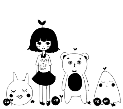 plant girl and friends by eggflour