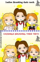 Brushing teeth- Ladies VS chodings by cartoon-hyoyeon