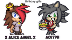 Sonic battle Pixel art : Courtni and Ace by supersilver27