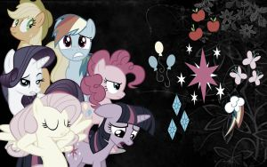{Wallpaper} ~ Discorded Mane Six by ShegoxDrakken