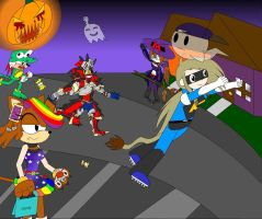 Halloween with Buddies by LuxiotheEchidna