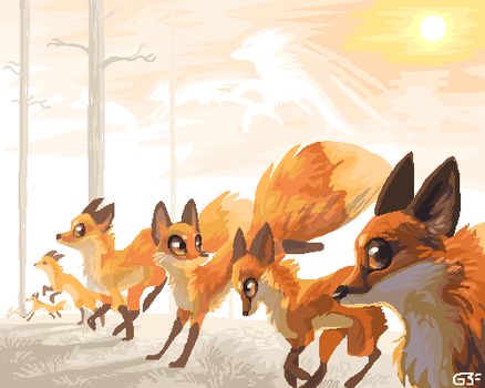 Foxes by griffsnuff