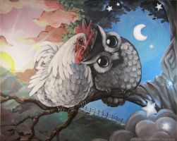 Morning Rooster and Night Owl by bezzalair