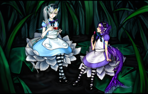 Lala and Urai in Wonderland by toychild