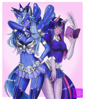 Luna and Twilight Sparkle by ShugarSketch