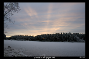 Sunset at the frozen lake by SLjodal