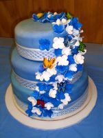 Blue 3 Tier with Hydrangeas by amysalmon