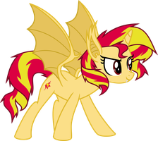 Sunset Shimmer vampire-bat pony by Elsia-pony