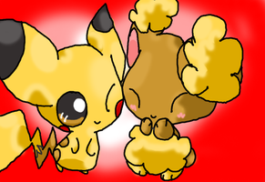 Buneary and Pikachu by Chaomaster1