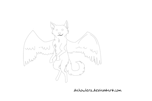 Free Lineart: Winged by dahowlers