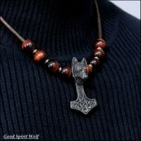 Tribal Wolf Mjolnir On Beaded Leather Necklace by GoodSpiritWolf