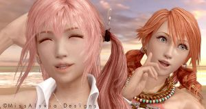 Vanille and Serah - Beach Day by MissAlyvia