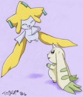 Terriermon and Jirachi by pdutogepi