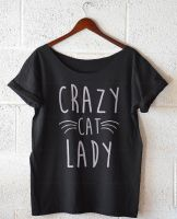 Crazy Cat Lady, Oversize Off Shoulder T-shirt by DiegoArragon