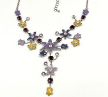 Vintage Enamel Mixed Flowers Necklace by sevvysgirl