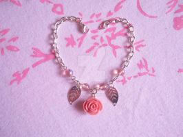 Pink Rose Bracelet by BakaKiaa