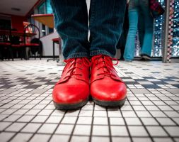 Red Shoes, Red Laces, Red Chairs And Tables by JohnKyo